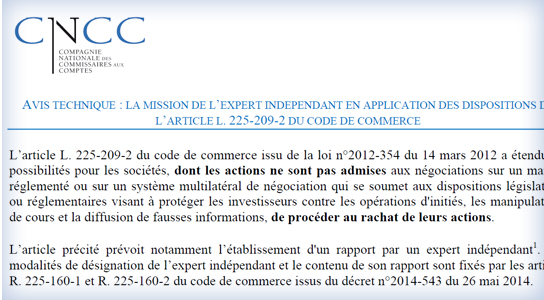 L'article L. 225-209-2 du code de commerce